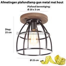 Landelijk Industriële Plafondlamp Birdie Met Hout