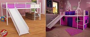 bunk bed with slide for girls. Image Is Loading White-Loft-Bunk-Bed-Slide-Twin-Tent-Kids- Bunk Bed With Slide For Girls