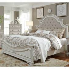 Magnolia Manor Antique White King Upholstered Panel Bed from Liberty ...