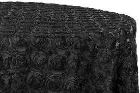 wedding rosette satin 132 round tablecloth black