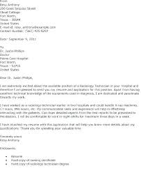 Sample Cover Letter For Resume Radiologic Technologist
