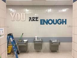 Elementary school bathroom Bathroom Design Mary Moore Elementary School Students Are Greeted By Inspirational Messages In Their School Bathrooms Abc News Parents Brighten Up Elementary Schools Bathrooms To Encourage