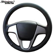 shining wheat hand stitched black leather steering wheel cover for hyundai solaris verna i20 accent color name red thread