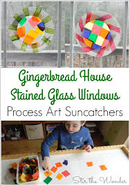 creating a gingerbread house stained glass window sun catcher with tissue paper is an adorable