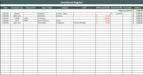 excel checkbook formula checkbook register spreadsheet