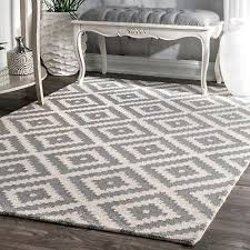 nuloom hand made contemporary geometric kellee wool area rug in grey and white