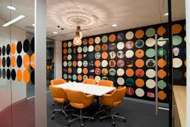 office interior decorating ideas. Interior: Colorful Wallpaper Right For Stunning Office Interior Design With Unique Chandelier On Plain Ceiling Decorating Ideas F