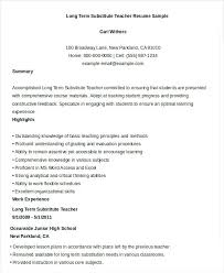 sample resume substitute teacher free teacher job resume long term  substitute teacher resume sample sample substitute