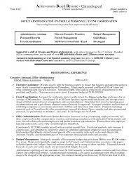 Resume Accomplishments Resumes Administrative Assistant Sample Job