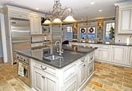 Natural Stone Flooring For Kitchens White Island Also Cabinetry With Drawers And Panel Appliances