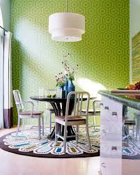 los angeles round dining table room transitional with wallpaper contemporary bar height stools