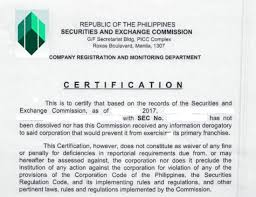 How To Secure Certificate Of Good Standing From Sec Taxmapped