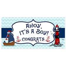 Baby Shower Banner Ahoy Its A Boy Nautical Blue And Red Baby Shower Banner Paper Blast