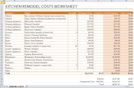 kitchen renovation budget worksheet