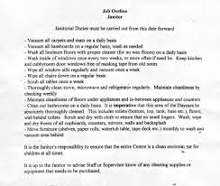 Janitor Job Description Template Jd Templates Cleaning Services