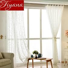 2019 White Curtain For Window Bedroom Sheer Voile Fabrics Stripe ...