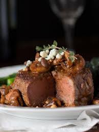 gourmet filet mignon dinner. Contemporary Filet Pan Seared Filet Mignon With Mushroom Red Wine Sauce And Blue Cheese With Gourmet Dinner Low Carb Maven