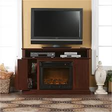 contemporary bedroom brown finish oak tv stands design with built in electric fireplace between two grooved