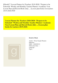 Ebook Lesson Planner For Teachers 2019 2020 Prepare To Be