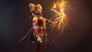 slayer lina girl magic bird dota 2 ancients games fire wallpaper