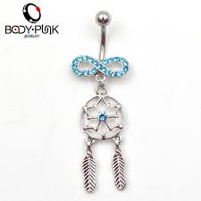 Dream Catcher Belly Button Rings Body Piercing Jewelry Blue CZ Infinity Dream Catcher Navel Dangle 29