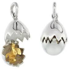 sterling silver high polished movable dinosaur egg pendant