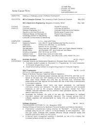 Sample Resume For Internship In Computer Science Free Resume