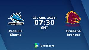 Post game round 16, 2021 broncos vs sharks. Cronulla Sharks Brisbane Broncos Live Score Video Stream And H2h Results Sofascore
