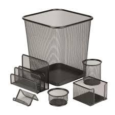 honey can do 6 piece steel mesh desk set in black