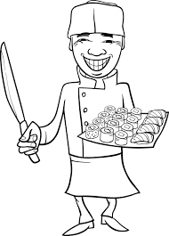 Japan Sushi Chef Kok Cartoon Kleurplaat Vector Premium Download