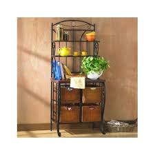 details about bakers rack metal stand shelf baskets shelves kitchen storage wood wicker iron