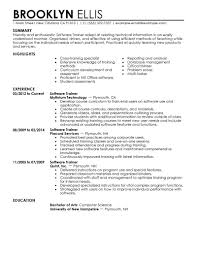 Software Training resume example