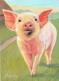 pink pig canvas print canvas art by oz freedgood
