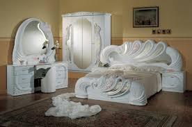 Italian White Queen Bedroom Set With Nightstands Dresser Mirror Pouf