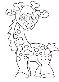 Kleurplaat Giraffe Dieren