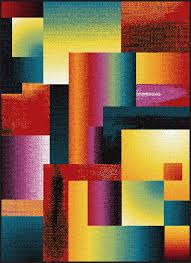 multi color blocks bricks squares cubes transitional area rug abstract smp1006