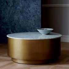 marble top brass metal drum coffee table