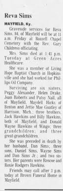 Obituary for Reva Sims (Aged 84) - Newspapers.com
