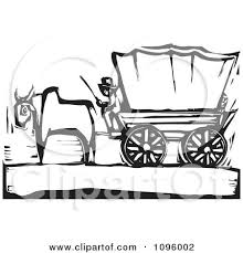 black and white covered wagon. clipart pioneer and ox with a covered wagon on the oregon trail black white woodcut - royalty free vector illustration by xunantunich