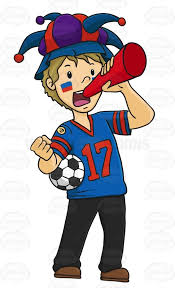 sports fan clipart. male sports fan wearing jester hat clipart s