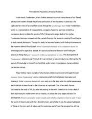 theme analysis essay frankenstein the indefinite parameters of  theme analysis essay frankenstein the indefinite parameters of human ambition in the novel frankenstein marry shelley attempts to convey many themes