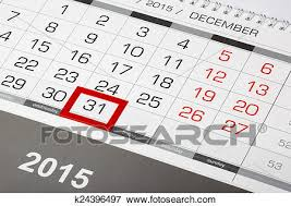 2015 Calendar Page Picture Of Calendar Page With Marked 31 Of December 2015 K24396497