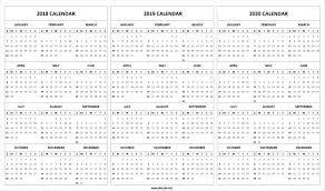 Print Blank 2018 2019 2020 Calendar Template 2021 Calendar