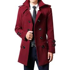mid length autumn double ted youth trench coat woolen coat wine