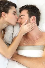 Lovely Couple In Bed Lying In Bedroom Kiss Bed Room