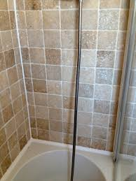 travertine tile bathroom. Filled Travertine Tiled Shower After Cleaning Tile Bathroom