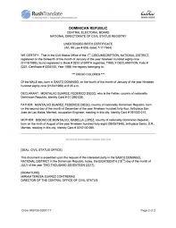 Certificate Of Birth Template Amazing Download Dominican Republic Birth Certificate Translation Template