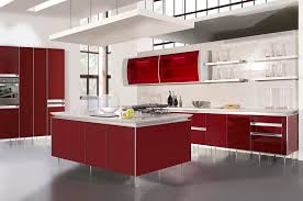 kitchen futuristic with red white color and hight counter elegant