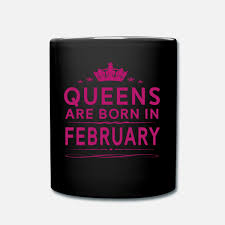 Queens Are Born In February February Queen Quote Full Color Mug Black