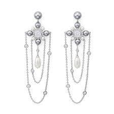 featurelayered link chain simulated pearl long bridal earrings jewelry statement women bijoux big chandelier earrings accessories